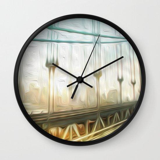 manhattan bridge morning Wall Clock
