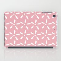 White flowers on pink iPad Case