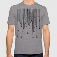 Abstract Hand Drawn Blac… Mens Fitted Tee Athletic Grey SMALL
