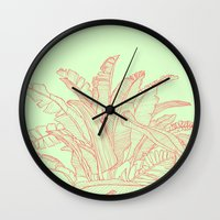 Palm Beach - Pink And Gr… Wall Clock