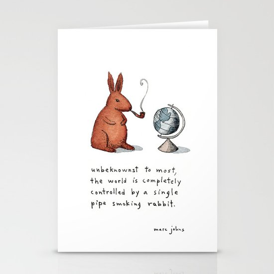 Pipe-smoking rabbit Stationery Card