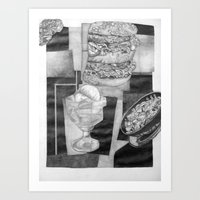 Food Collage (Drawing) Art Print