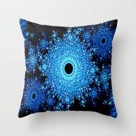 Blue Black Mandala Throw Pillow