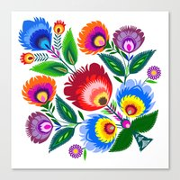 Colorful Folk Flowers Canvas Print