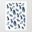 Painted Bird Repeat Pattern.  Art Print