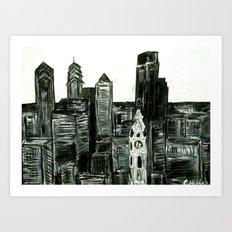 Black and White Philly Skyline Art Print