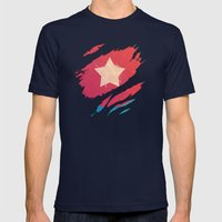 The First Avenger Mens Fitted Tee Navy SMALL