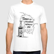 Tous les chemins... Mens Fitted Tee SMALL White