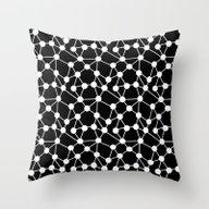 Atoms - Black And White … Throw Pillow