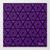 Kagome Greek Fret ... Purple Canvas Print