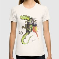 Dinosaur Wearing Jetpack Womens Fitted Tee Natural SMALL