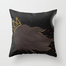 The Queen and the Moon Throw Pillow
