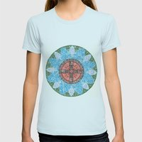 Stained Flower Womens Fitted Tee Light Blue SMALL