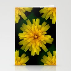 Yellow Natural Flowers On Black Background Stationery Cards