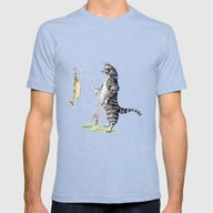 Cat With A Fish Mens Fitted Tee Tri-Blue SMALL