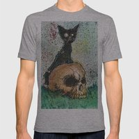Black Cat with a Skull Mens Fitted Tee Athletic Grey SMALL