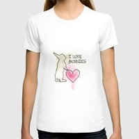 I LOVE BUNNIES Womens Fitted Tee White SMALL
