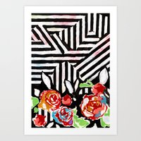 Mountains And Flowers Art Print