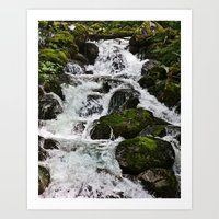 Cascades Below Art Print