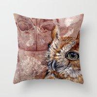 Human Owl Throw Pillow