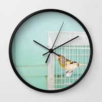 Finch Against Turquoise … Wall Clock