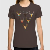 retro deer head white Womens Fitted Tee Brown SMALL