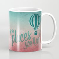 Oh, the Places You'll Go - Coral & Teal Mug