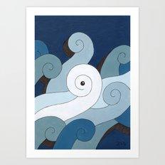 Mono Pattern   The Waves Art Print