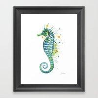 Seahorse: Green Framed Art Print