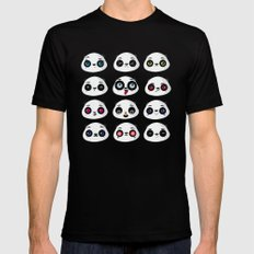 Panda faces SMALL Black Mens Fitted Tee