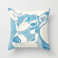 Deerest Blue Throw Pillow