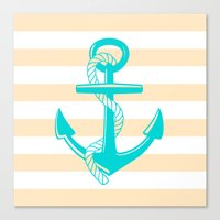 Tan And Teal Anchor Canvas Print