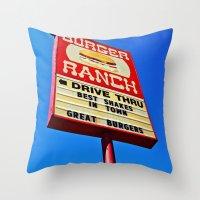 The Burger Ranch Throw Pillow