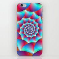Spiral In Blue And Red iPhone & iPod Skin