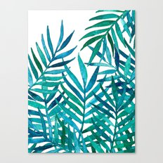 Watercolor Palm Leaves on White Canvas Print