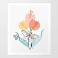 Butterflies And Tulips I Art Print