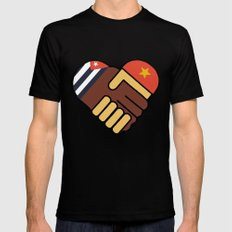 Hands Of Friendship Black SMALL Mens Fitted Tee