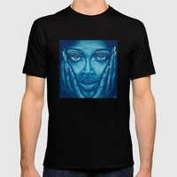look at me-blue Mens Fitted Tee Black SMALL