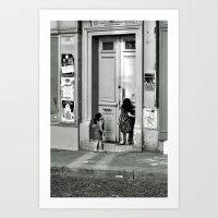 Paris, ringing the door bell Art Print
