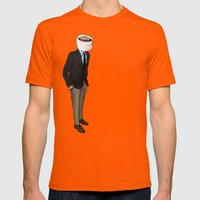 IT'S MORNING AND I THINK… Mens Fitted Tee Orange SMALL