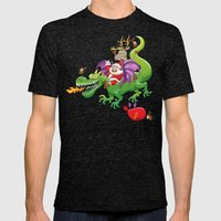 Santa changed his reindeer for a dragon Mens Fitted Tee Tri-Black SMALL