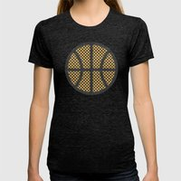 Op Art Basketball. Womens Fitted Tee Tri-Black SMALL