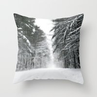 Winter Road Throw Pillow