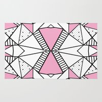 Abstract Spots and Stripes Pink Rug