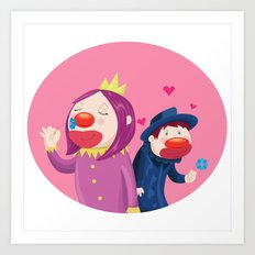 Lusty Clowns Art Print