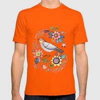 Romantic Singing Bird Wi… Mens Fitted Tee Orange SMALL