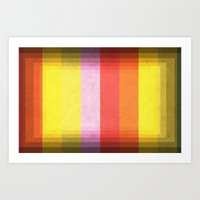 Warm Color Stripes Art Print