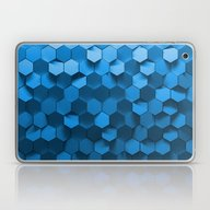 Laptop & iPad Skin featuring Blue Hexagon Abstract Pa… by Shilldesign