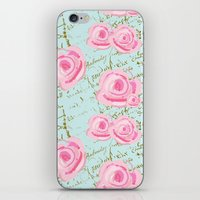 Pink  Roes and French Script iPhone & iPod Skin