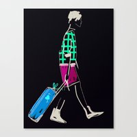 stylish girl walking Canvas Print